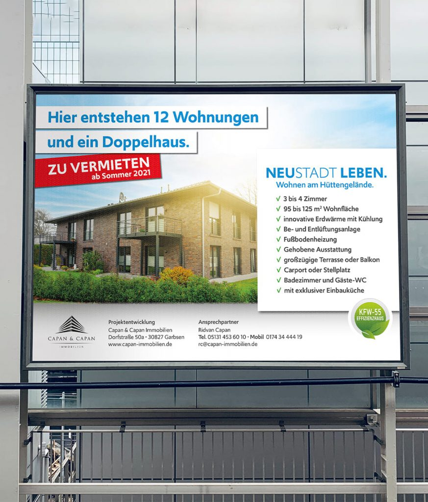 Großplakate / Bauschilder in Neustadt am Rübenberge für Capan & Capan Immobilien